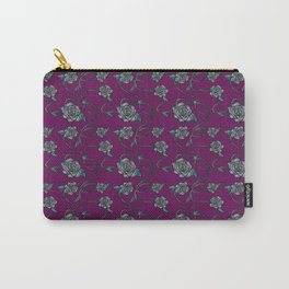 Barbed Roses - Grey on Purple Carry-All Pouch