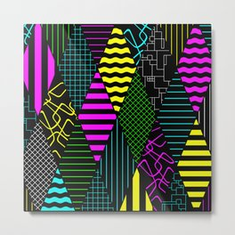 Bright Multi Patterned Diamond Collage Metal Print