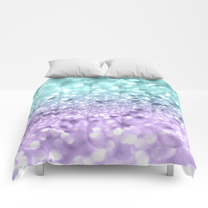 Aqua Purple MERMAID Girls Glitter #1 #shiny #decor #art #society6 Comforters