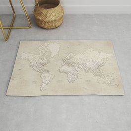 Sepia vintage world map with cities Rug