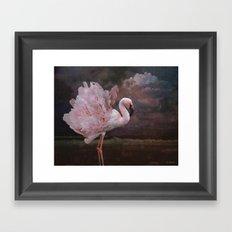 If a flamingo became a peony Framed Art Print