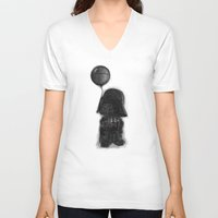 death star V-neck T-shirts featuring darth vader & death star! by Darthdaloon