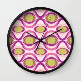 Pink, Purple and Green Geometric Retro Wavy Pattern Wall Clock