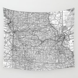 Vintage Map of Missouri (1891) BW Wall Tapestry