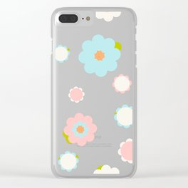 White, blue and pink flowers over green background Clear iPhone Case
