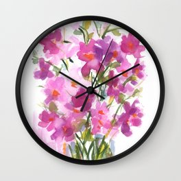 Pink Cosmos Bouquet Wall Clock