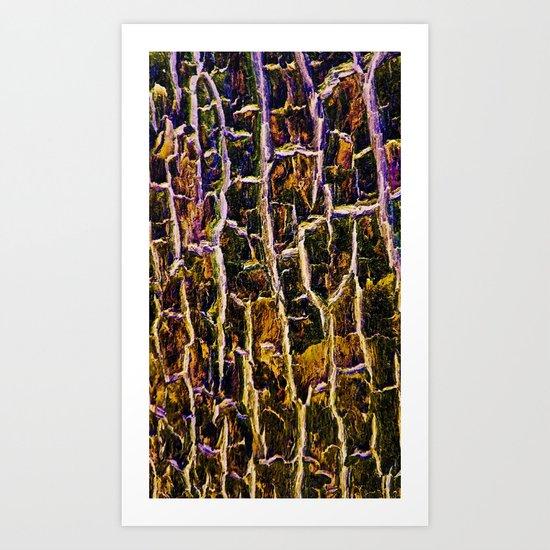 Jewel Toned Topaz Tree Bark Art Print