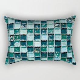 Bressia Blue & Green Glass Mosaic Rectangular Pillow