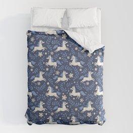 Floral Ponies (Dark Blue) Comforters