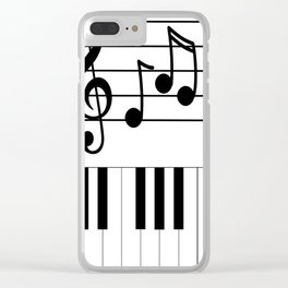 Music Notes with Piano Keyboard Clear iPhone Case