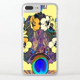 Decorative Modern Art Nouveau Peacock Floral Patterns Clear iPhone Case