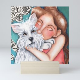 Sweet Coconut Original Art Schnauzer and girl Portrait Mini Art Print