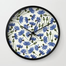 Vintage Pressed Flowers - Blue Cornflower Wall Clock
