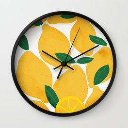 lemon mediterranean still life Wall Clock