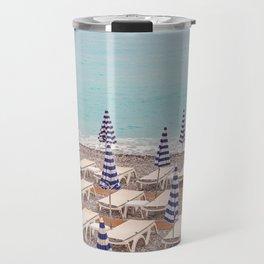 Beach Umbrellas in Nice Travel Mug