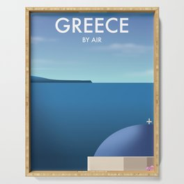 Greece By Air Vacation poster. Serving Tray