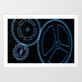 Set of blue gears and cogs on virtual screen Art Print