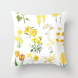 yellow and orange flower collections Throw Pillow