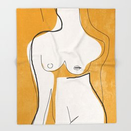 Abstract Line Art Nude Throw Blanket
