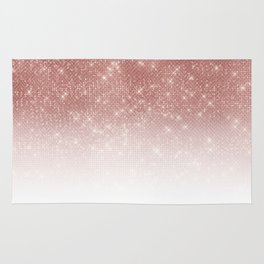 Girly Faux Rose Gold Sequin Glitter White Ombre Rug