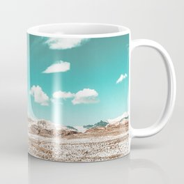 Vintage Desert Clouds // Teal Blue Skyline Mountain Range in the Mojave after a Snow Storm Coffee Mug