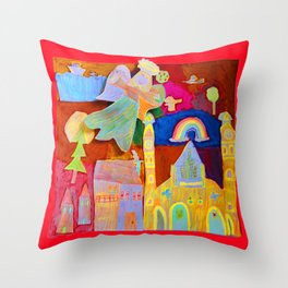 Rainbow Angel Throw Pillow