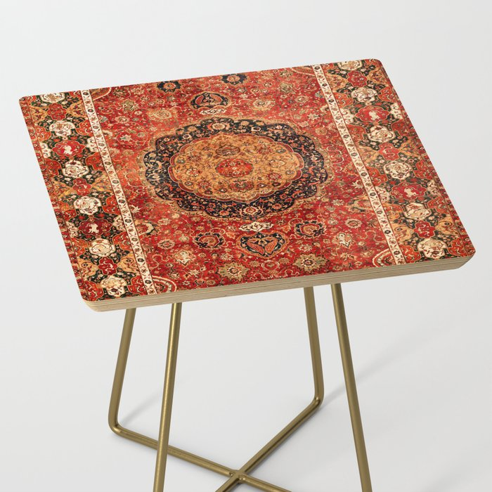 Seley 16th Century Antique Persian Carpet Print Side Table