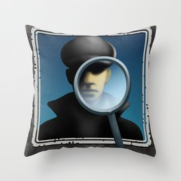 Wanted Detective Illustration Throw Pillow