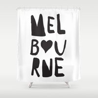 melbourne Shower Curtains featuring Hearting Melbourne by Yellow Ark