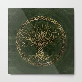 Tree of life -Yggdrasil -green and gold Metal Print