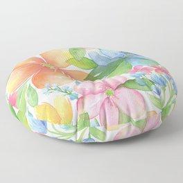 Bright Floral Watercolor Floor Pillow
