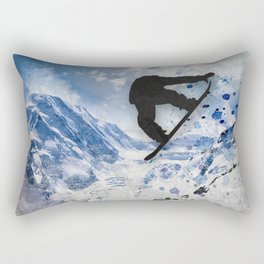 Snowboarder In Flight Rectangular Pillow