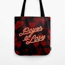 Inspirational love quotes retro neon sign, Valentine's red black hearts bokeh pattern Tote Bag