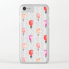 Balloons painted in watercolor on polka dots pattern minimal valentines love gifts Clear iPhone Case