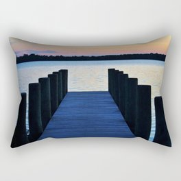 Boat Pier At Sunset Rectangular Pillow