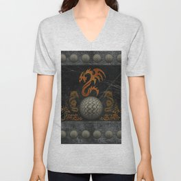 Awesome tribal dragon made of metal Unisex V-Neck