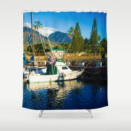 Lahaina Harbour Marina Maui Hawaii Shower Curtain