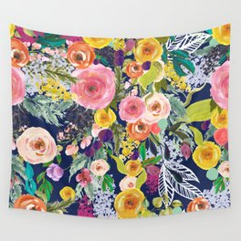 Autumn Blooms Colorful Painted Floral Print // Navy Wall Tapestry