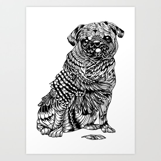 Pug Feather Art Print