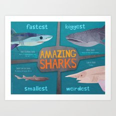 Amazing Sharks Art Print