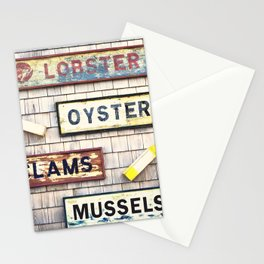 Seafood notices for lobsters, mussels,oysters and clams.  Stationery Cards