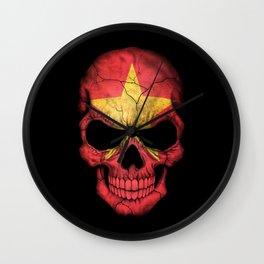 Dark Skull with Flag of Vietnam Wall Clock