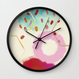 pink circle abstract dots dancing polka in rain Wall Clock