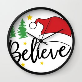 Santa Believe in Santa Clause Christmas Santa Hat Wall Clock