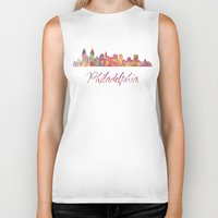 philadelphia Biker Tanks featuring Philadelphia Skyline by SpecialTees