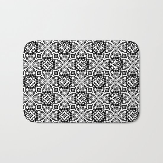 Retro . Lace black and white pattern . White lace on a black background . Bath Mat