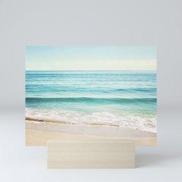 Ocean Seascape Photography, Aqua Beach Sea Landscape, Turquoise Teal Coastal Waves Mini Art Print