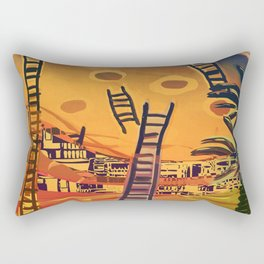 Time through Time, from Caves to Skyscraper, from Organic to Geometric Rectangular Pillow