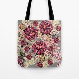 Roses and cherry blossom pattern Tote Bag