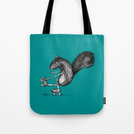 Ride On Squirrel_teal Tote Bag